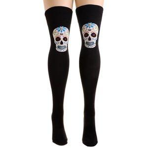 Dia de los Muertos Sugar Skull Thigh High Socks